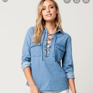 Lace up long sleeve denim shirt
